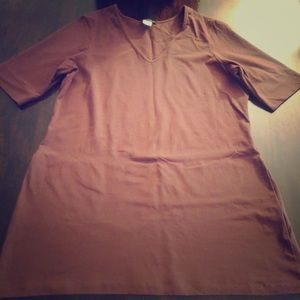 Brown fitted tunic T-shirt